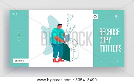 Typography Printing House Working Process Website Landing Page. Man Put Paper Document To Copy Machi
