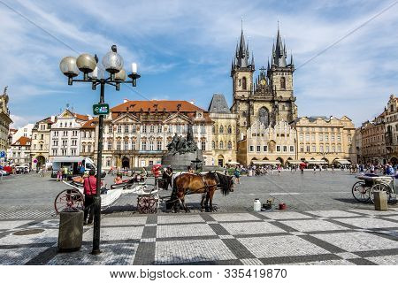 Prague.czech Republic.august 31, 2019. Old Town Square, Town Hall And Tyn Church In Prague.