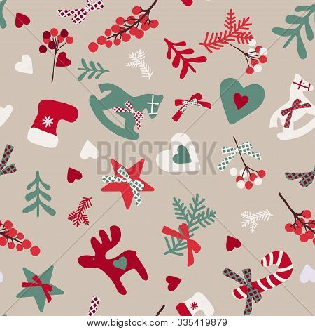 Christmas Pattern Of Christmas Trees, Branches And Toys. Christmas Pattern. New Year Pattern. Seamle