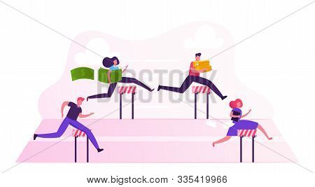 Business People Characters Obstacle Race. Managers Holding Money And Documents Jumping Over Barriers