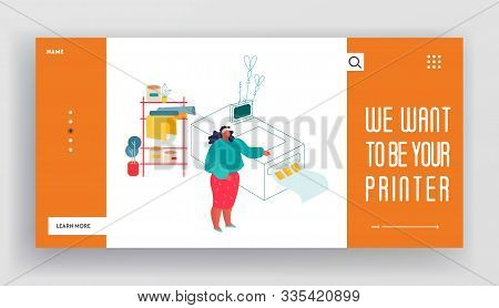 Printing House Or Advertising Agency Website Landing Page. Woman Stand Near Polygraphy Equipment. De