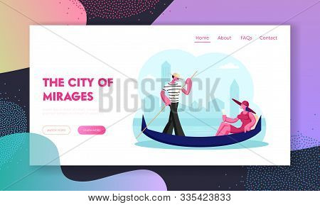 Female Tourist Having Tour To Italy Website Landing Page. Happy Woman Sit In Gondola With Champagne