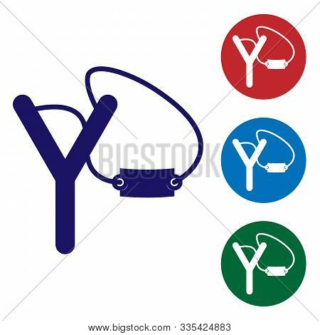 Blue Slingshot Icon Isolated On White Background. Set Color Icons In Circle Buttons. Vector Illustra