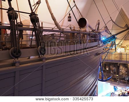 Oslo, Norway On July 2019: Prow Of Wooden Ship In European Capital City Used By Norwegian Explorer R