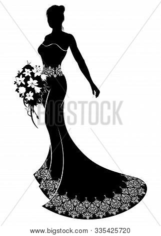 Bride Silhouette Wedding Illustration, The Bride In A Bridal Dress Gown With Abstract Floral Pattern