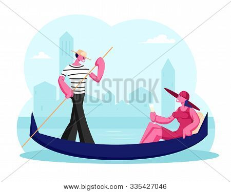 Happy Woman Sitting In Gondola With Champagne Glass In Hand, Man Gondolier Floating Boat At Canal In