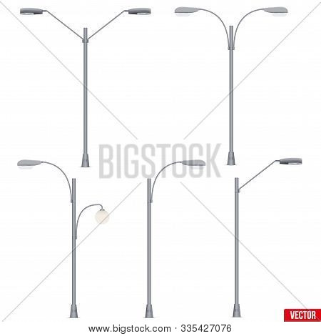 Set Of Street Light Lamp Post. Sample Urban Lamppost Models. Used Light Bulbs And Leds. Urban Equipm
