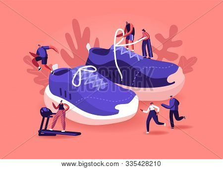 People Wearing Sneakers Concept. Sportsmen And Sportswomen Training In Gym And Outdoors In Sport Sho