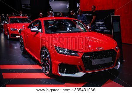 Frankfurt Am Main, Germany - September 17, 2019: Red Sports Car Audi Tt Rs Presented At The Frankfur
