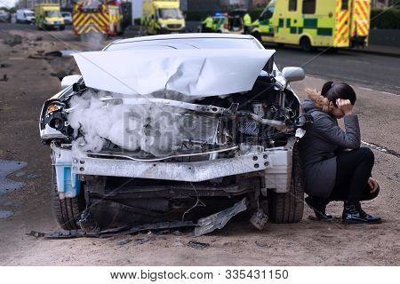 Woman After Car Accident In The City. Car Crash From Car Accident On The Road.