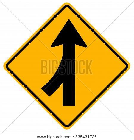 Merges Left Traffic Road Sign,vector Illustration, Isolate On White Background Label. Eps10