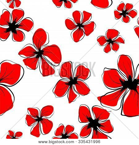 Abstract Flowers For Fabric Design. Decorative Floral Pattern. Beautiful Vector Pattern. Vintage Flo