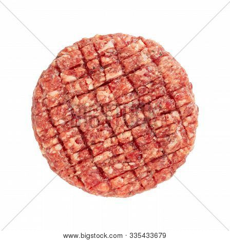 One Raw Burger Meat Isolated On White Background, Top View
