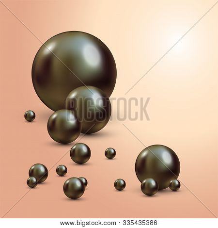 Vector Illustration For Your Design. Luxury Beautiful Shining Jewellery Background With Black Pearls