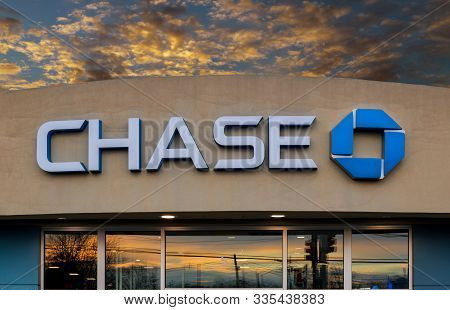 New York - Nov 21: Facade Of Chase Bank With Sunset The Rays In New York, Usa.