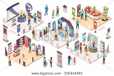 People At Expo Or Business Exhibition, Vector Isometric Icons. Technology And Business Exhibition Wi