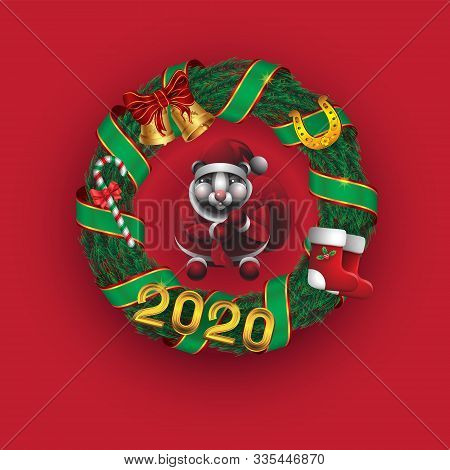 Christmas Wreath 2020 Santa Claus Candy Bells Horseshoe Shoes Pine Ribbon On Red Isolated Background