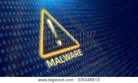 Detecting malware program concept - binary code and malware warning. 3d rendering