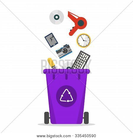 E-waste Falling In The Trash Bin Vector Isolated. Recycling