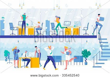 Workflow Process In Two-level Office. Deadline And Work Rush. Boss Chief And Executive Managers. Tim
