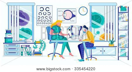 Cartoon Female Doctor Examining Male Patient Vision In Ophthalmologist Office Vector Illustration. M
