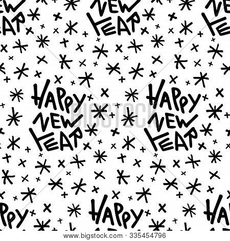 Happy New Year - Seamless Pattern With Hand-written Modern Lettering Quote And Doodle Snowflakes.  I