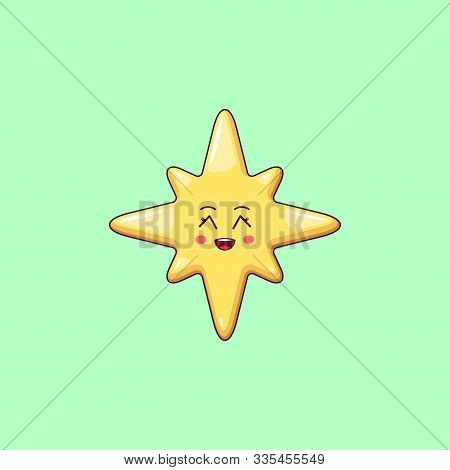 Cartoon Kawaii Golden Star With Grinning Face. Cute Christmas And New Year Star With 8 Rays, Festive