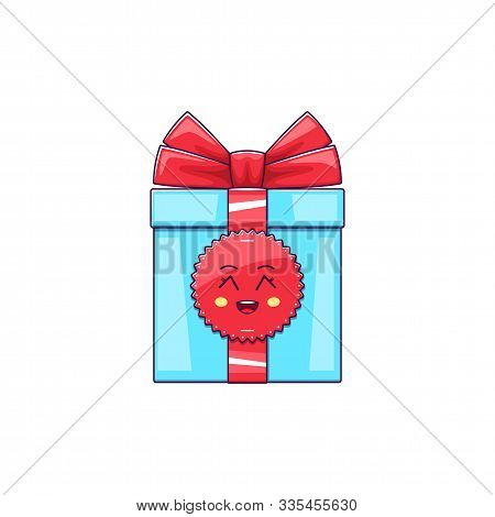 Cartoon Kawaii Gift Box With Grinning Face. Cute Blue Gift With Red Bowknot, Childish Character With