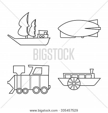 Vector Design Of Retro And Trip Icon. Collection Of Retro And Transport Stock Vector Illustration.