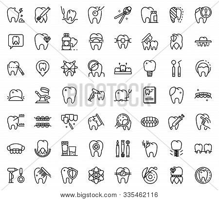 Tooth Restoration Icons Set. Outline Set Of Tooth Restoration Vector Icons For Web Design Isolated O