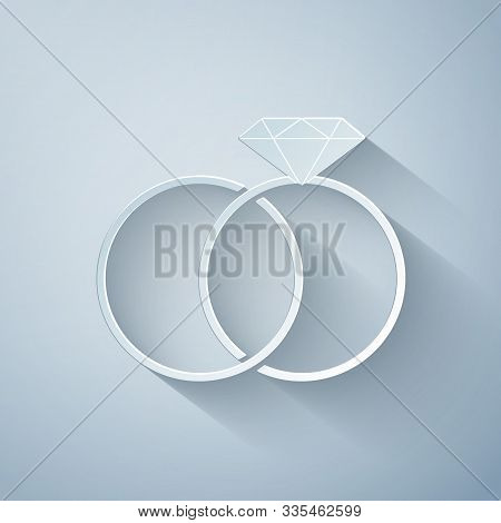 Paper Cut Wedding Rings Icon Isolated On Grey Background. Bride And Groom Jewelery Sign. Marriage Ic