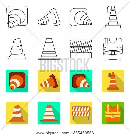 Isolated Object Of Obstacle And Transportation Logo. Set Of Obstacle And Equipment Vector Icon For S