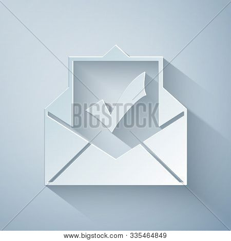 Paper Cut Envelope With Document And Check Mark Icon On Grey Background. Successful E-mail Delivery,