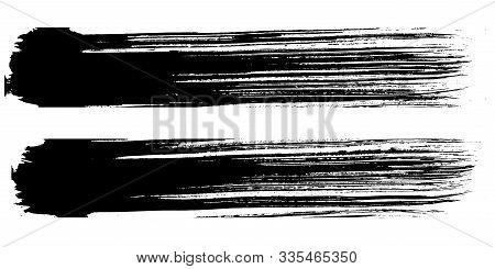 Abstract Black Brush Stripe. Black And White Engraved Ink Art. Isolated Brush Design Illustration El