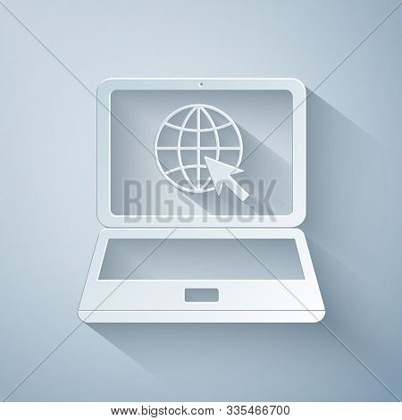 Paper Cut Website On Laptop Screen Icon Isolated On Grey Background. Laptop With Globe And Cursor. W