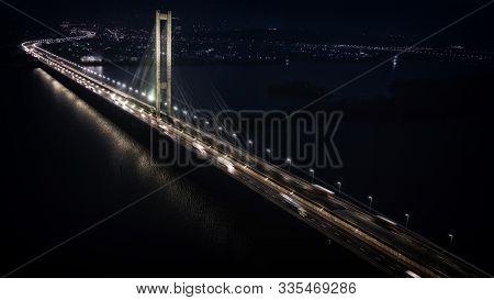 View Of The Night South Bridge, The City Of Kiev.