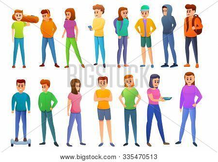 Adolescent Icons Set. Cartoon Set Of Adolescent Vector Icons For Web Design