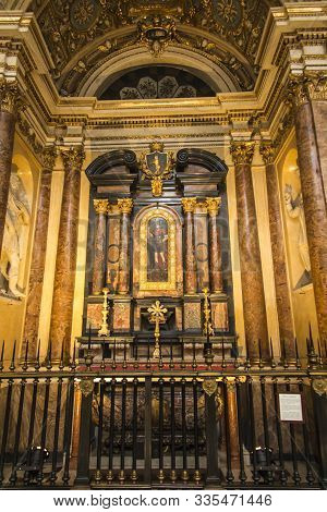 Turin Italy, June 27, 2019: Fragment Of The Interior Of The Catholic Cathedral Of Saint John The Bap