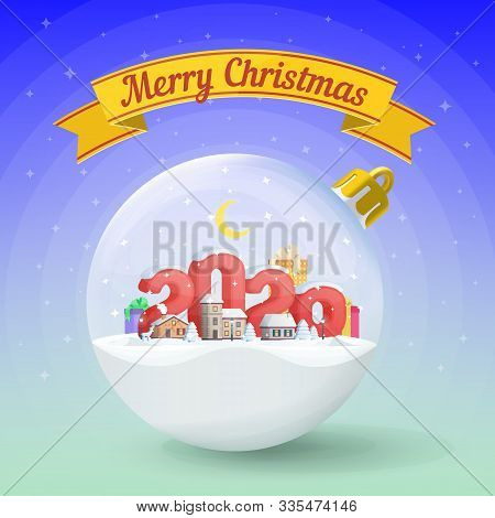 Merry Christmas And Happy New Year 2020. Realistic Christmas Glass Ball. Greeting Card. Flat 3d Numb