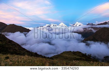 Evening View Of Mount Salkantay And Mount Tukarway, View From Choquequirao Trekking Trail, Cuzco Are