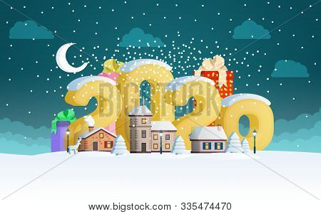 New Year 2020. Greeting Card. The Winter Vacation. A Small Town In The Mountains At Night. Flat 3d N