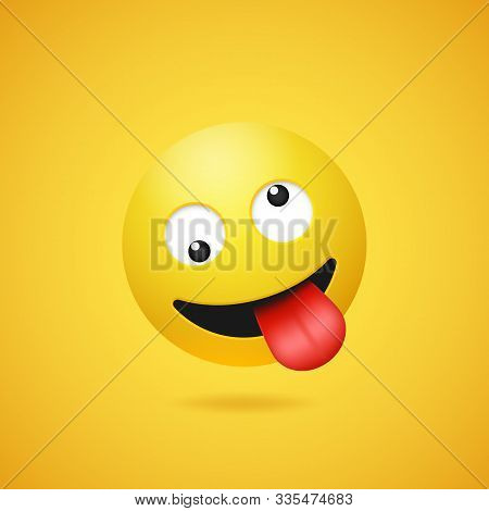 Happy Smiling Crazy Emoticon With Stuck Out Tongue On Yellow Gradient Background. Vector Funny Yello