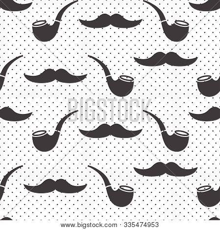 Male seamless pattern, gentlemens print with mustaches and smoking pipes on polka dot background. Black and white design. Vector illustration