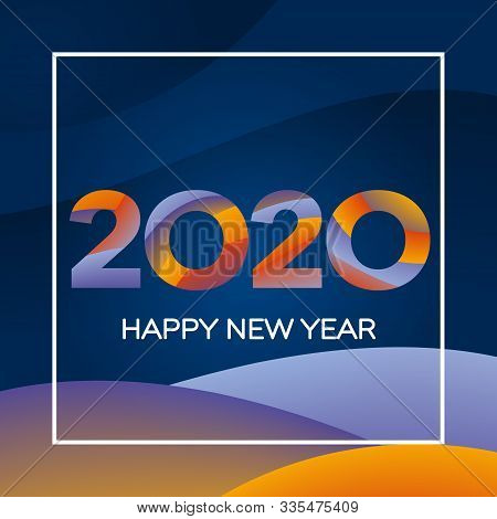 Happy New Year 2020 Text Design. Greeting Card Design Template. New Year Holiday Card Template. Mate