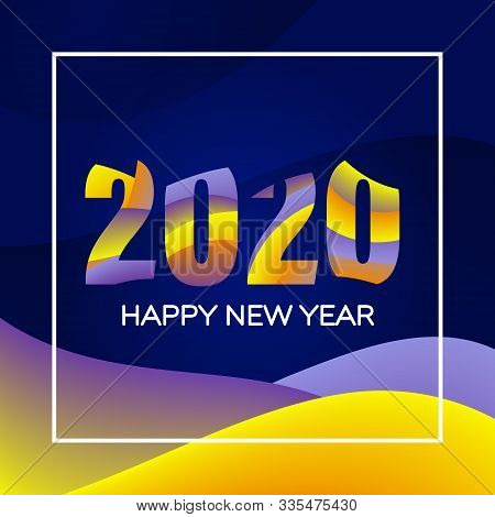 New Year Holiday Card Template. Happy New Year 2020 Text Design. Greeting Card Design Template. Mate