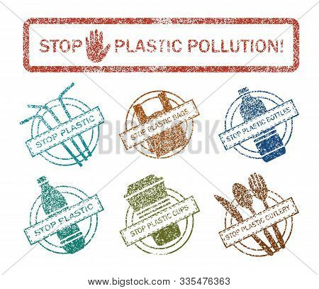 Say No To Plastic. Stop Plastic. Stop Using Single Use Plastic Bags, Straws, Bottles And Cups. Prote