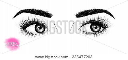Hand-drawn Black And White Image Of The Eyes, Looking To The Side, With Eyebrows And Long Eyelashes.