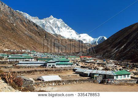 Dingboche Village And Mount Lhotse - Trek To Everest Base Camp - Nepal Himalayas Mountains