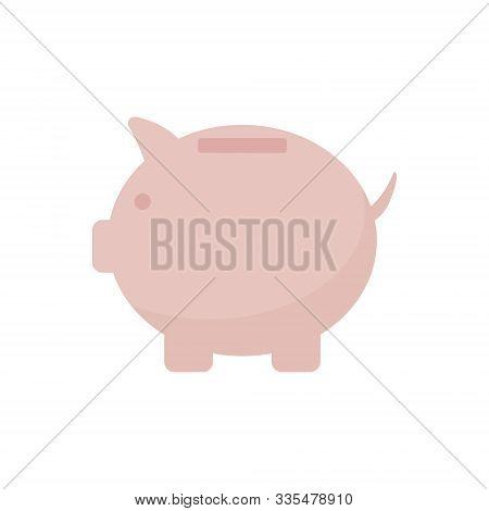Flat Vector Illustration Of Pink Piggy Bank. Saving Money, Banking Concept