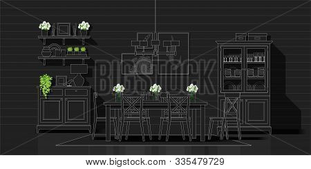 Interior Design With Modern Dining Room In White Line Sketch On Black Background , Vector , Illustra